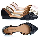 City Classified Rachel Black Women's Comfortable Flat Shoes, Double Open Shank D'Orsay Pump -7.5