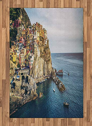 Vernazza Area Rugs 2.6'x5'ft,Panoramic View of Manarola Village of Italy Beautiful Sea and Houses on Cliffs Non Skid Floor Mat Carpet Entry Throw Runners Rug,Multicolor ()