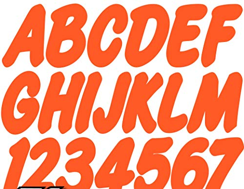 """Stiffie Whip-One Electric Orange 3"""" Alpha-Numeric Registration Identification Numbers Stickers Decals for Boats & Personal Watercraft"""