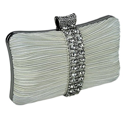 Front Crystal The Gathered A With Satin On Clutch Strip Ivory Bag wqBzaO