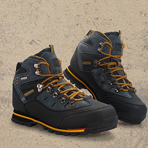yeshi Herren Outdoor Trekking Wandern Stiefel, wasserdicht, anti-rutsch Schuhe Black + Yellow
