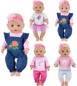 4 Sets Doll Clothes Include Top Skirt Jeans Pants Headband for 18 inch Dolls Like American Girl Dolls, OG dolls/43cm New Born Baby Dolls/15 inch Bitty Baby Doll