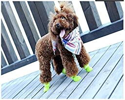 Pesp Puppy Dogs Candy Colors Anti-slip Waterproof Rubber Rain Shoes Boots Paws Cover (Black, Large)