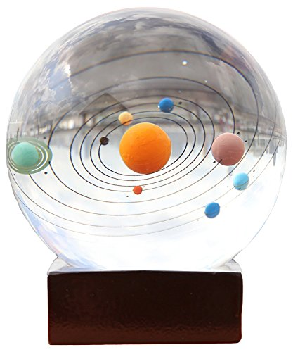 Berry President 3D Laser Etched Crystal Solar System Paperweight Home Decor Creative Gift 3.1''