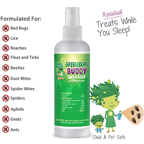 Green Bean Buddy, Residual Bug Killer, 3oz Treats Bed Bugs, Roaches, Fleas, Ticks, Ants, Beetles, Mites, Lice and Other Pests