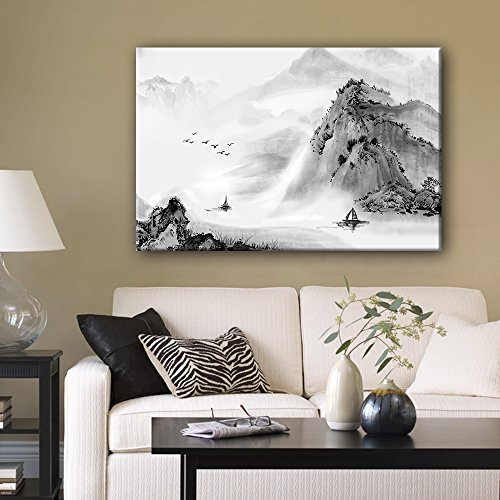 wall26 Canvas Wall Art - Chinse Ink Painting Style Landscape