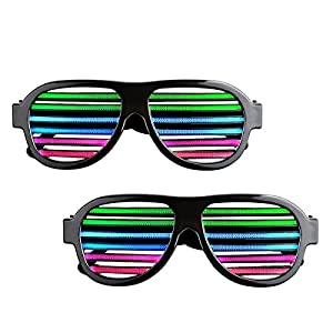 Sourcingbay 2 Pack Light up LED Glasses Multi Color Sound & Music Flashing Light Rechargeable Eyeglasses with USB Charger for Kids and Adults in Disco, Party, Halloween, Christmas Gifts