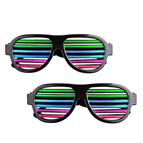 Sourcingbay Pack of 2 LED Flashing Glasses with USB Charger Music Sound Activated for Kids Adults]()