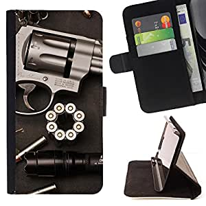 For Apple Iphone 5 / 5S Gun Revolver Clean Pistol War Bullets Beautiful Print Wallet Leather Case Cover With Credit Card Slots And Stand Function