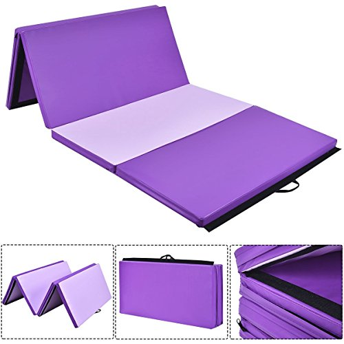 Yoga mat pad 4'x10'x2 Gymnastics Mat Thick Folding Panel Gym Fitness Exercise Mat Purple Pink Lady Gay Women Men Kids by Lapha' US