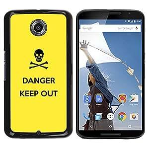 TECHCASE**Cubierta de la caja de protección la piel dura para el ** Motorola NEXUS 6 / X / Moto X Pro ** Danger Sign Symbol Black Skull Yellow