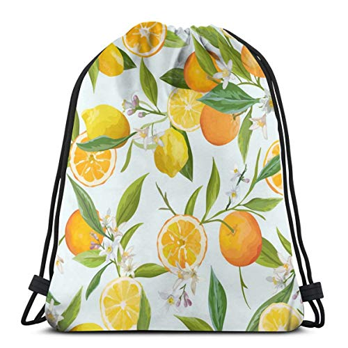 Orange And Lemon Seamless Tropical Pattern Customized Sports Pumping Rope Bag Is Suitable For Unisex Outdoor Travel -