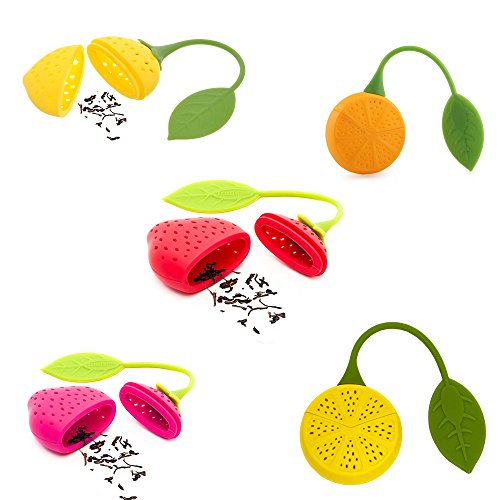 AVIRGO Reusable Fruit Design Silicone Tea Infuser Strainer Suitable for Use in Teapot, Teacup and More Mix Fruits Pack of 5 Pcs