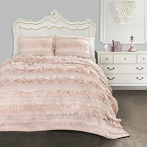 Lush Decor Belle 3 Piece Ruffled Shabby Chic Blush Comforter Set with Bed Skirt and Pillow Sham, Twin XL (Decor Bedding Dorm)
