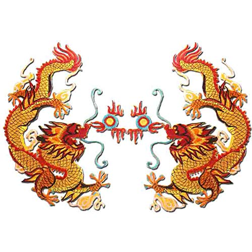 Embroidered Applique Cloth Garment DIY Decoration 1 Pair Chinese Gold Dragon Embroidery Appliques Sew Iron on Patches Clothes Decorative DIY Patch - Decorative Gold Stitch Design
