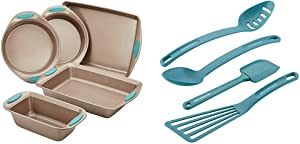Rachael Ray 46179 Cucina Nonstick Bakeware Set with Grips - 5 Piece, Latte Brown & Cucina Nylon Nonstick Utensils/Fish Turner, Spatula, Solid and Slotted Spoons, 4 Piece, Agave Blue