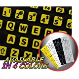 ENGLISH US LARGE LETTERING KEYBOARD STICKER (UPPER CASE) YELLOW BACKGROUND FOR DESKTOP, LAPTOP AND NOTEBOOK (Manufactured 4Keyboard)