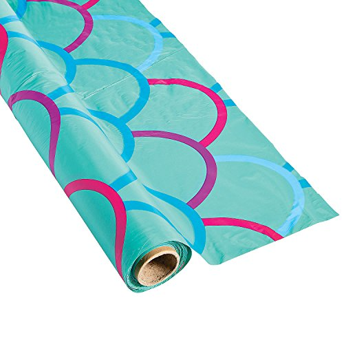 Fun Express - Mermaid Design Tablecloth Roll - Party Supplies - Table Covers - Print Table Rolls - 1 Piece