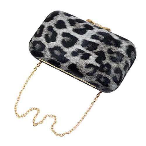 Elegant Leopard PU Leather Crystal Bow Top Hard Clutch, Grey by TrendsBlue (Image #4)