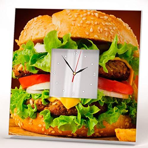 - Burger Food Art Wall Clock Framed Mirror Fan Restaurant Bar Cafe Kitchen Decor Home Room Design Gift