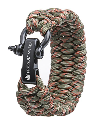 The Friendly Swede Trilobite Extra Beefy 550 lb Paracord Survival Bracelet with Stainless Steel Black Bow Shackle, Available in 3 Adjustable Siz (Army Green Camo, fits 7-8 Wrists)