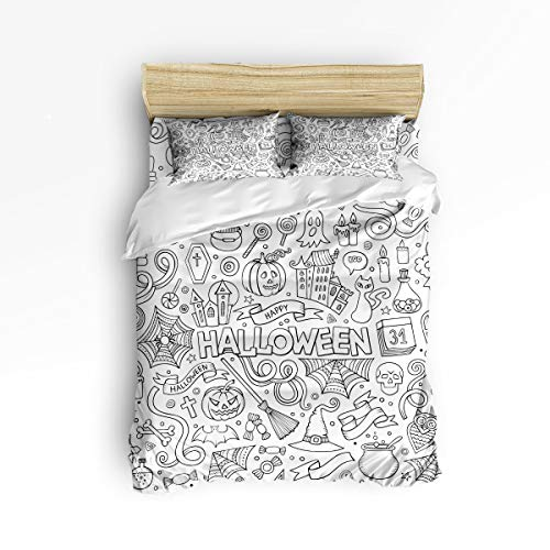 YEHO Art Gallery Comfortable Duvet Cover Set Cute Bed Sets for Kids,Hand Painting Halloween Candy Pumpkin Spider Design Children Bedding Sets,Include 1 Duvet Cover 1 Bed Sheets 2 Pillow Case,King Size -