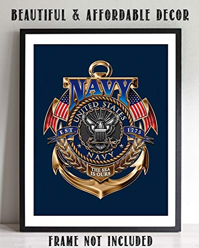 United States Navy-Gold Anchor Crest- 8 x 10