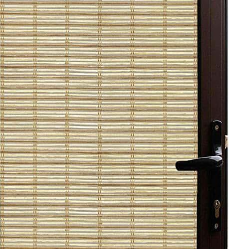 Qualsen Window Film Bamboo Static Decorative Privacy Window Films Non-Adhesive Anti Uv Window Sticker for Home Kitchen Bedroom Living Room (23.6 x 118inch)