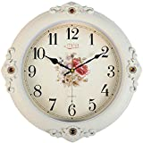 FortuneVin Wall Clock Silent movement Wall Clock Home Office Decor for Living Room Bedroom Kitchen Clock Wall 16 In Silent, Wall Table Creative Quartz16 India40.5Cm Flower White Cracks