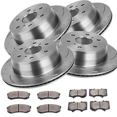 Combo Brake Kit With Drilled Slotted Brake Rotors And Ceramic Pads For Toyota 03-09 4Runner 07-09 FJ Cruiser , Front+Rear (Truck 4runner Front Brake Pads)