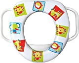 cushioned toilet seat with handles EVIDECO Easy Grip Handles Baby Soft Toilet Potty Trainer Seat Jungle Animals Multicolored