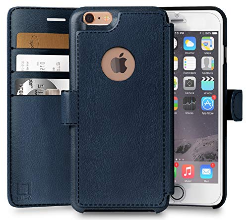 LUPA iPhone 6S Wallet case, iPhone 6 Wallet Case, Durable and Slim, Lightweight with Classic Design & Ultra-Strong Magnetic Closure, Faux Leather, Navy Blue, for Apple iPhone 6s/6