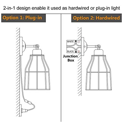 Farmhouse Wall Sconces ZZ Joakoah 2 Pack Rustic Wall Sconce with Plug in Cord and Toggle Switch, Black Metal Cage Industrial Wall Lamp Light… farmhouse wall sconces