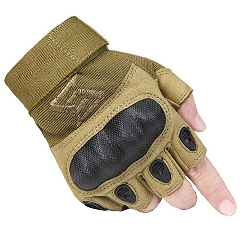 - FREE SOLDIER Outdoor Men Military Hard Knuckle Half Finger Glove Tactical Armor Gloves(Tan XX-Large)