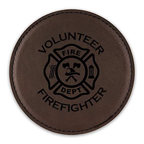 Volunteer Fightfighter Drink Coaster Leatherette Round Coasters fire dept firefighter maltese cross - Dark Brown - Set of Six Round - Cross Maltese Brown