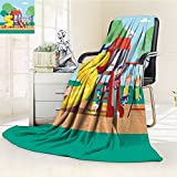 Microfiber Fleece Comfy All Season Super Soft Cozy Blanket group of kids playing game on a town public park playground with swings slides for Bed Couch and Gift Blankets(90''x 70'')