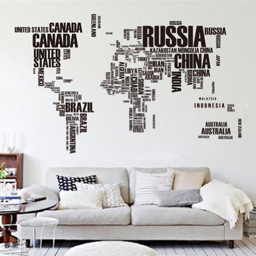 Briefe-Welt-Karte-Abnehmbare-Vinyl-Abziehbild-Kunst-Wandbild-Wand-Aufkleber-Wandtattoos-Wandbilder-HG-0449