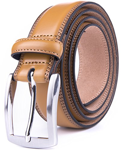Mens Belts, Belts men leather, Leather men's belt, belt men leather (34, Tan) (Tan Reversible Leather)
