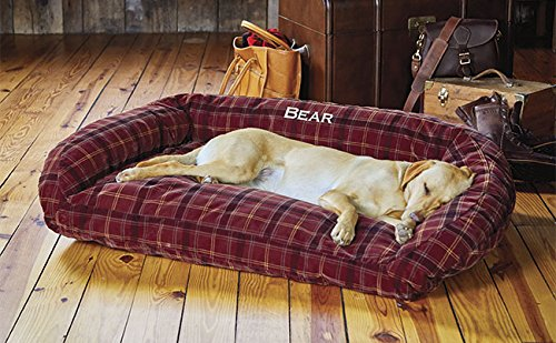 Orvis Toughchew Comfortfill Bolster Dog Bed / X-large Dogs 90-120 Lbs., Field Tartan, X Large by Orvis