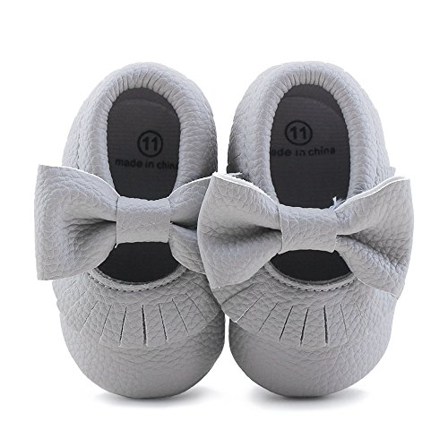 Delebao Infant Toddler Baby Soft Sole Tassel Bowknot Moccasinss Crib Shoes (12-18 Months, Grey 02)