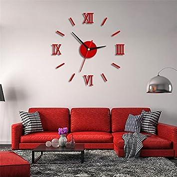 Komo Reloj de pared creativo arte romano-reloj de cuarzo de mesa elegante salón ultra silencioso pegar Reloj de pared, 16 pulgadas, rojo: Amazon.es: Hogar