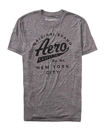 Aeropostale Men's Aero Supply Co Script Graphic T Shirt S Medium Heather Grey
