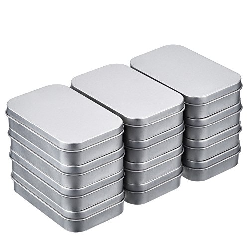Shappy 12 Pack 3.75 by 2.45 by 0.8 Inch Silver Metal Rectangular (Round Mini Tin)