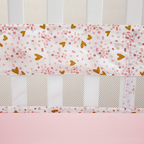 Little Love by NoJo She's So Lovely Heart Secure-Me Crib Liner, Pink/Metallic Gold
