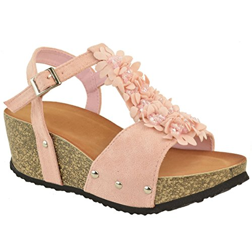 Mode Törstig Kvinna Kil Komfort Sandaler Vadderad Flip Flops Fotbädd Skor Storlek Pastellrosa Faux Mocka