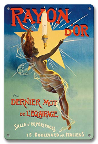 (Fashionable Rayon d'or Gaslight Fixtures - The Last Word in Lighting - Nude Winged Goddess by Jean de PaleologueWall Sign 8X12 inches Metal tin Sign)