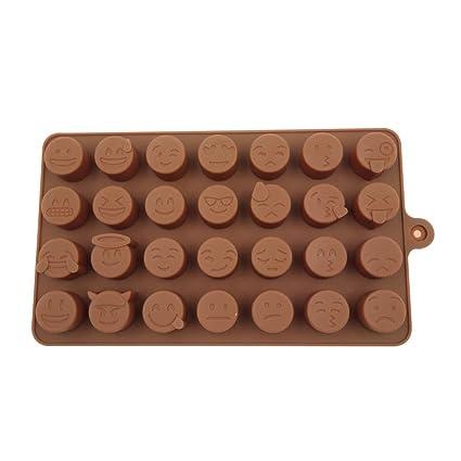 T-MEKA Emojis Molde,Lindo Smiley Cara de Chocolate Molde de Silicona para Chocolate
