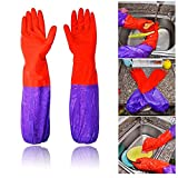 DefenderX Premium Home Wide Mouth And Long Flower Velveteen Antiskid Household Laundry Dishwashing Rubber Gloves