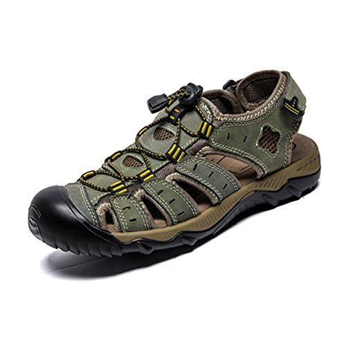 RVROVIC Leather Strap Men's Sandals Summer Gladiator Shoes US 6.5- US 12 Plus Size 3 Colors (US Size 9.5, (Khaki Green Color)