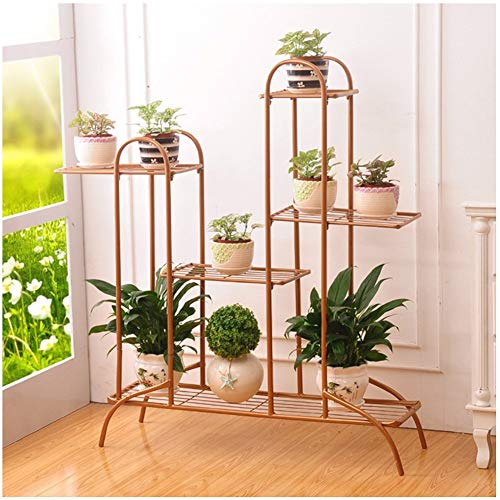 CATRP Flower Stand Indoor Multi-Layer Metal Vertical Plant Pot Stand Outdoor Flower Display Rack,3 Colors (Color : Gold)